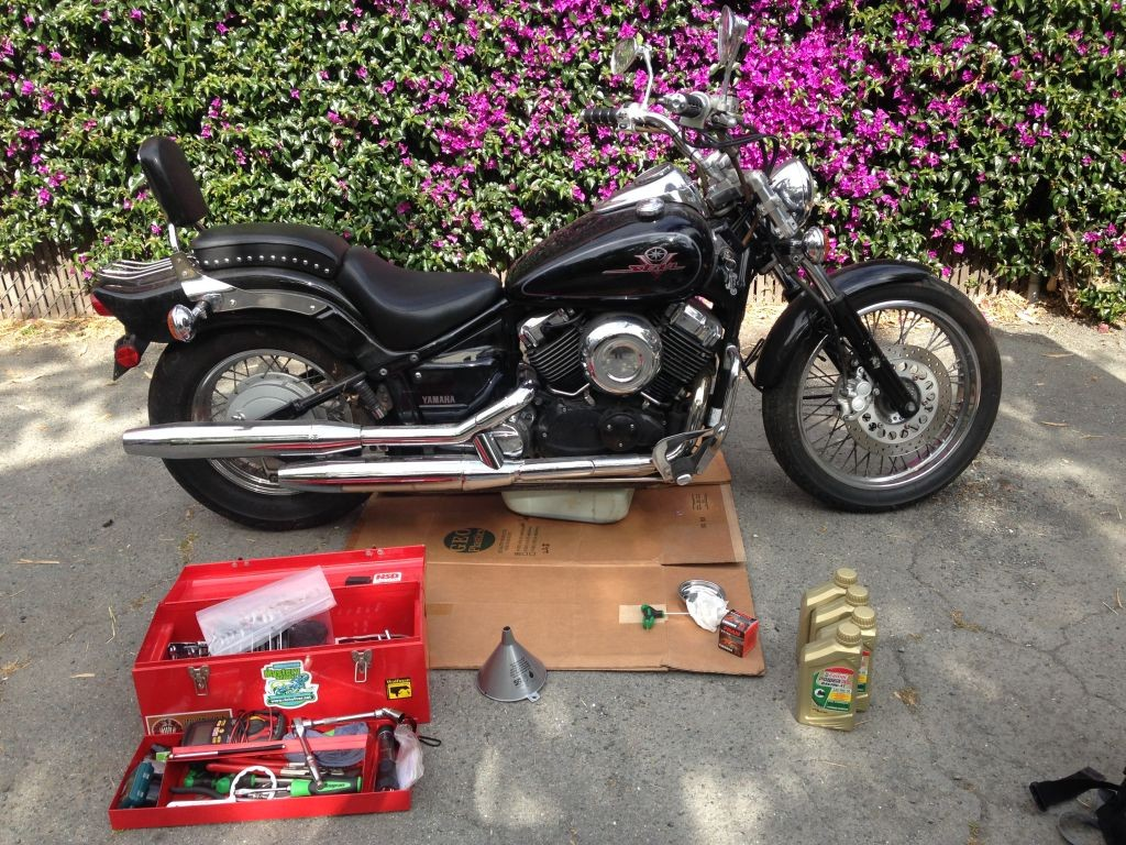 Oil and filter change yamaha v star 650 cruiser riders recycle the v star ready for her oil change tools and supplies at hand publicscrutiny