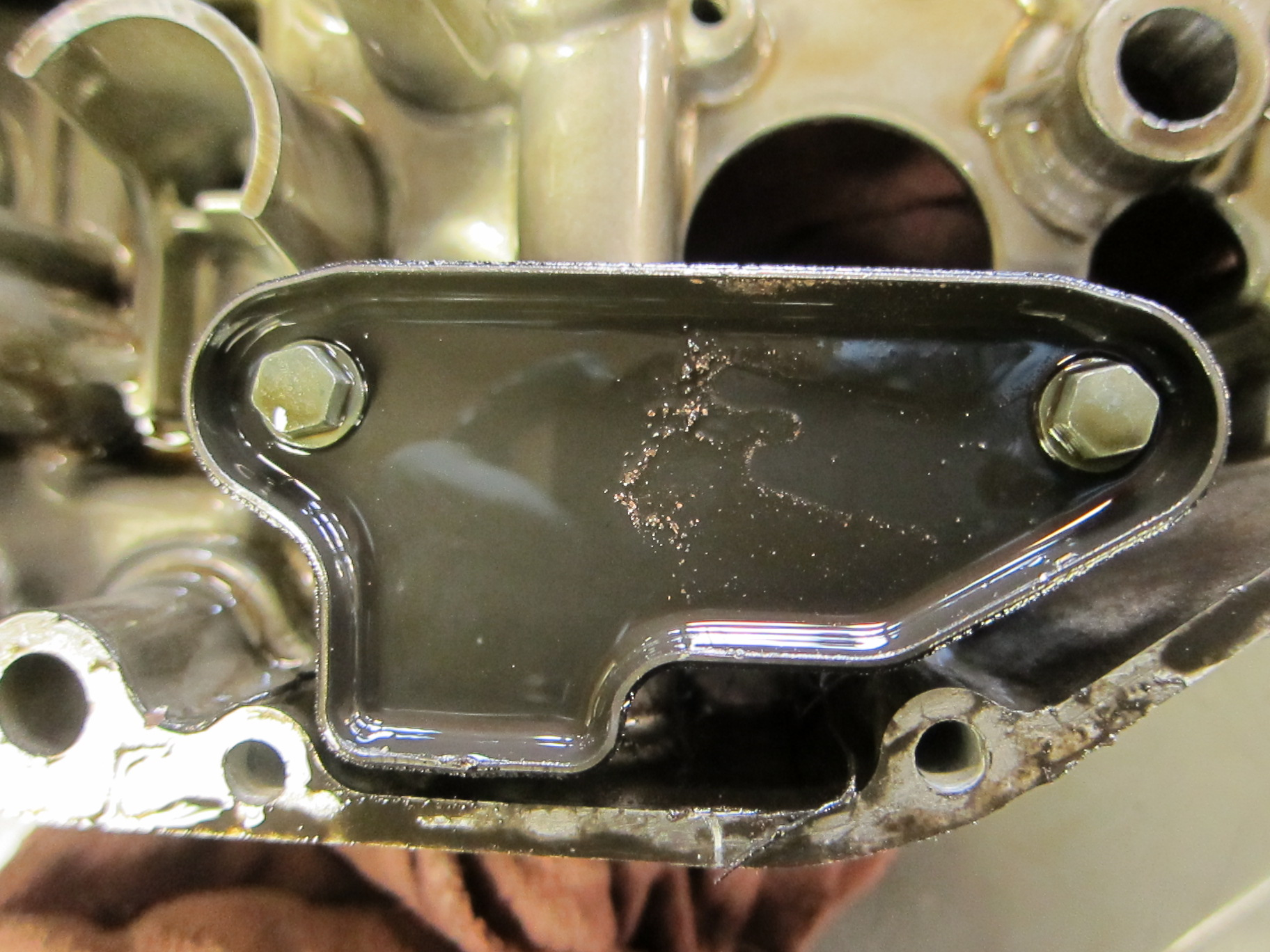 Look carefully--metal particles are adhering to the lower surfaces of the engine