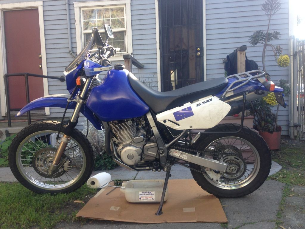 My DR650 ready to change oil and get a sample