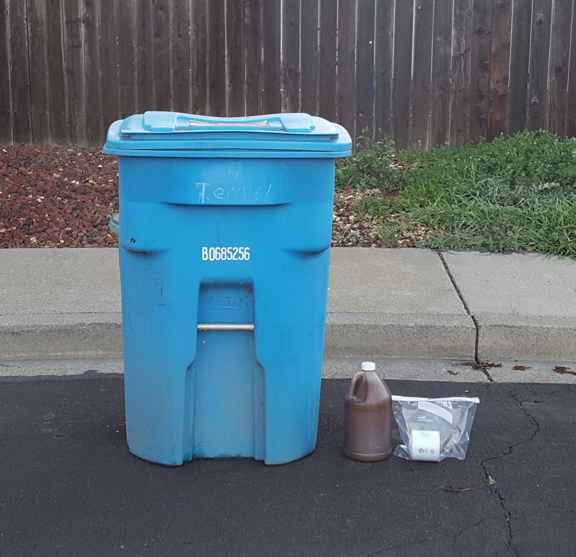 Used motor oil and filter placed next to the recycling cart for curbside pickup.